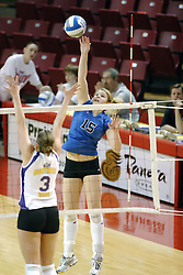 24 November 2006: Sarah Schulze reaches hig for a strike towards Kristin Belzung during a Semi-final match between the Creighton University Bluejays and the Northern Iowa University Panthers. The Tournament was held at Redbird Arena on the campus of Illinois State University in Normal Illinois.<br />