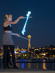 United States, Wasington, Seattle, Gas Works Park, fire and light artist(s)