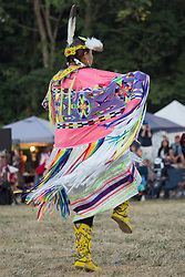 United States, Washington, Seattle, female dancer at annual Seafair Powwow in Discovery Park