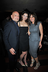 Left to right, SIR BEN KINGSLEY, DANIELA LAVENDER and CAROL VORDERMAN at a party following a gala evening of Daniela Lavender's one woman show 'A Woman Alone'  The party was held at Blakes Hotel, Roland Gardens, London SW7 on 7th April 2011.