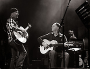 Barry Reynolds at a soundcheck with The Edge from U2 - Island 50 concerts Hammersmith Empire - London 2009