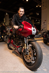 Queen Hung with hisEndless Sun customDucati MH900e 2000 in the AMD World Championship of Custom Bike Building in the Intermot Customized hall during the Intermot International Motorcycle Fair. Cologne, Germany. Friday October 5, 2018. Photography ©2018 Michael Lichter.