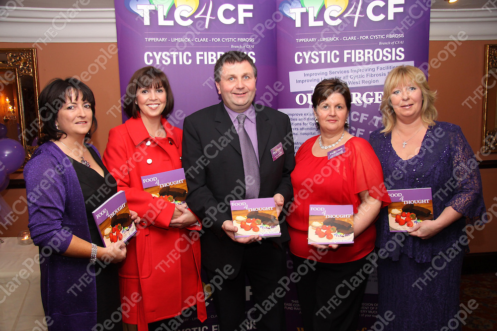 """Pictured at the launch of """"Food 4 Thought"""", the new cookbook in aid of TLC4CF were Marcella Clancy, Clare Branch of CFAI, Caitriona Hayes, Tipperary Branch of CFAI,Liam O' Kelly, Limerick Branch of CFAI, Breda O'Shaughnessy, author of """"Food 4 Thought"""" and Linda Drennan, Clare Branch of CFAI at Woodlands House Hotel in Adare on Tuesday 17th November.<br /> Photos: Ger O'Shaughnessy"""