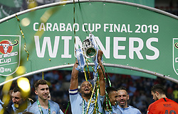 BRITAIN-LONDON-FOOTBALL-CARABAO CUP FINAL-CHELSEA VS MAN London.(190224) -- LONDON, Feb. 24, 2019  Manchester City's captain Vincent Kompany with the Carabao Cup after the Carabao Cup Final match between Chelsea and Manchester City at Wembley Stadium in London, Britain on Feb. 24, 2019. Manchester City won 4-3 on penalties after a 0-0 draw.  FOR EDITORIAL USE ONLY. NOT FOR SALE FOR MARKETING OR ADVERTISING CAMPAIGNS. NO USE WITH UNAUTHORIZED AUDIO, VIDEO, DATA, FIXTURE LISTS, CLUB/LEAGUE LOGOS OR ''LIVE'' SERVICES. ONLINE IN-MATCH USE LIMITED TO 45 IMAGES, NO VIDEO EMULATION. NO USE IN BETTING, GAMES OR SINGLE CLUB/LEAGUE/PLAYER PUBLICATIONS. (Credit Image: © Matthew Impey/Xinhua via ZUMA Wire)
