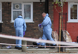 © Licensed to London News Pictures . 11/04/2014. London, UK.   Forensic officers search evidence in  Vince Court, of Baches Street, Hackney, where a 60-year-old woman was found dead at her home. Dempsey Nibbs is currently standing trial at the Old Bailey accused of murdering the mother of his two children, Judith, in a brutal attack at their home in Hoxton in April 2014. Photo credit: LNP