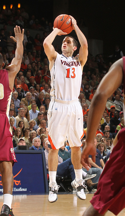 Virginia Cavaliers guard Sammy Zeglinski (13) handles the ball during the game against Florida State in Charlottesville, Va.  Florida State defeated Virginia 63-60.