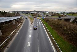Traffic at Newbridge. Traffic towards Edinburgh on the morning after the Lockdown.