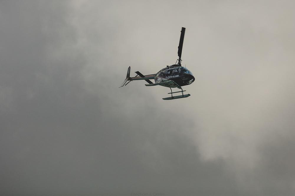 A Bell 206 cruising the skies near Virgin Gorda on a warm afternoon.