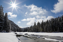 """""""Snowy Truckee River 2"""" - Photograph of an iced over and snowy Truckee River in the winter."""