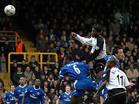 Picture: Henry Browne.<br />Date: 20/12/2003.<br />Fulham v Chelsea  FA Barclaycard Premiership.<br />Louis Saha's header is saved by Carlo Cudicini in the opening minutes.