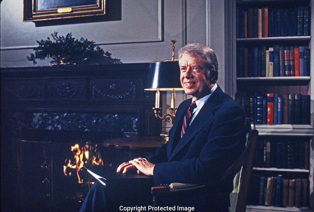 President Jimmy Carter addresses the nation on the Panama Canal agreement in February 1978.<br /> Photo by Dennis Brack
