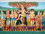 05 JUNE 2015 - KUALA LUMPUR, MALAYSIA:   Hindu art work in Sri Mahamariamman Temple, the oldest functioning and most important Hindu temple in Malaysia. The principal deity in the temple is Mariamman,  a deity that is popularly worshipped by overseas Indians, especially Tamils, because she is looked upon as their protector during the sojourn to foreign lands. Mariamman is a manifestation of the goddess Parvati, an incarnation embodying Mother Earth with all her terrifying force. She is associated with disease and fever and protects her devotees from unholy or demonic events.    PHOTO BY JACK KURTZ