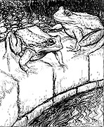 The Frogs and the Well from the book ' Aesop's fables ' Published in 1912 in London by Heinemann and in  New York by Page Doubleday Illustrated by Arthur Rackham,