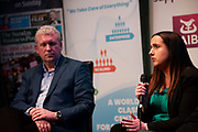 02/04/2019 Repro free:  <br />  Panel Discussion on International Growth Through Innovation and Positioning  Joe Smyth Genesys  and Nicola Barrett, Senior Marketing Managerat Connacht Rugby at Harvest in the Mick Lally Theatre , an opportunity to share ideas for innovation and growth and discuss how to cultivate the city as a destination for innovation, hosted by GTC  and Sponsored by AIB and The Sunday Business Post .<br /> <br />   Photo: Andrew Downes, Xposure
