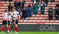 Fans applaud as Sheffield United players celebrate their opening goal <br /> <br /> Photographer Alex Dodd/CameraSport<br /> <br /> The Premier League - Sheffield United v Burnley - Sunday 23rd May 2021 - Bramall Lane - Sheffield<br /> <br /> World Copyright © 2021 CameraSport. All rights reserved. 43 Linden Ave. Countesthorpe. Leicester. England. LE8 5PG - Tel: +44 (0) 116 277 4147 - admin@camerasport.com - www.camerasport.com