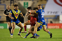 Rugby League - 2020 Super League - Round 13 - Warrington Wolves vs Catalan Dragon<br /> <br /> Catalans Dragons's Benjamin Garcia is tackled,   at the Halliwell Jones Stadium, Warrington<br /> <br /> <br /> COLORSPORT/TERRY DONNELLY