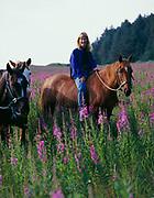 Lori Egge riding horse through blooming fireweed, Raspberry Island, Kodiak Archipelago, Alaska.