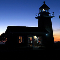 A new solid beam beacon shines from atop the Mark Abbott Memorial Lighthouse.<br /> Photo by Shmuel Thaler <br /> shmuel_thaler@yahoo.com www.shmuelthaler.com