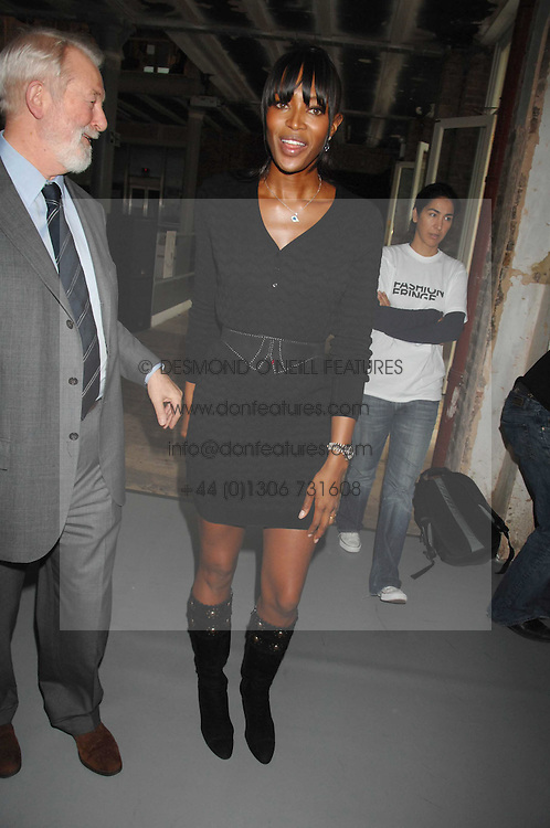 NAOMI CAMPBELL and COLIN MCDOWELL at Fashion Fringe 2007 held at 1 The Piazza, Covent Garden, London on 20th September 2007.<br />