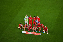 CARDIFF, WALES - Sunday, October 13, 2019: Wales players line-up for a team group photograph before the UEFA Euro 2020 Qualifying Group E match between Wales and Croatia at the Cardiff City Stadium. Back row L-R: goalkeeper Wayne Hennessey, Joe Rodon, Ethan Ampadu, Kieffer Moore. Front row L-R: Daniel James, Connor Roberts, captain Gareth Bale, Joe Allen, Ben Davies, Tom Lockyer and Jonathan Williams. (Pic by Paul Greenwood/Propaganda)