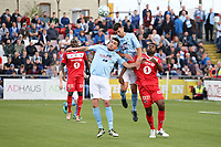 Fotball ,  06th July 2017<br /> <br /> Ballymena United v Odd BK, Seaview.<br /> Europa League Rd1 2nd Leg<br /> Pictured: Ballymena's Emmet Friars and Johnny Flynn and Odd BK's Olivier Occean.<br /> <br /> Norway only