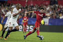 November 1, 2017 - Seville, Spain - Ivelin Popov of Spartak (R ) vies for the ball with Steven N'Zonzi of Sevilla (L ) during the UEFA Champions League Group E soccer match between Sevilla FC and Spartak Moskva at Estadio Ramon Sanchez Pizjuan (Credit Image: © Daniel Gonzalez Acuna via ZUMA Wire)