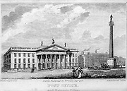 Post Office and Nelson's Pillar, Sackville street Dublin From the guide book ' The new picture of Dublin : or Stranger's guide through the Irish metropolis, containing a description of every public and private building worthy of notice ' by Hardy, Philip Dixon, 1794-1875. Published in Dublin in 1831 by W. Curry.