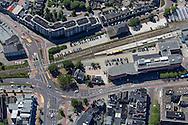 Leeuwarden - luchtfoto stationsgebied - spoorwegovergang Schrans