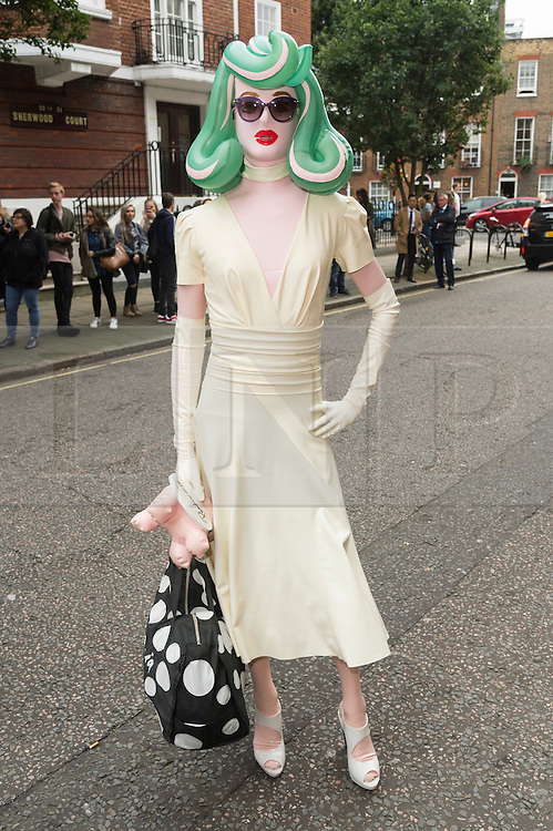 © Licensed to London News Pictures. 17/09/2016. PANDEMONIA arrives for the JULIEN MACDONALD Spring/Summer 2017 show. Models, buyers, celebrities and the stylish descend upon London Fashion Week for the Spring/Summer 2017 clothes collection shows. London, UK. Photo credit: Ray Tang/LNP