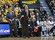 WICHITA, KS - JANUARY 18:  Head coach Gregg Marshall (C) of the Wichita State Shockers calls out instructions during the first half against the Indiana State Sycamores on January 18, 2014 at Charles Koch Arena in Wichita, Kansas.  Wichita State defeated Indiana State 68-48. (Photo by Peter Aiken/Getty Images) *** Local Caption *** Gregg Marshall