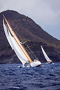 Heron sailing in the Cannon Race at the Antigua Classic Yacht Regatta.
