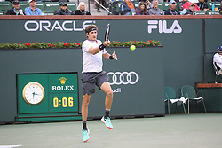 March 10, 2019 - Indian Wells, CA, U.S. - INDIAN WELLS, CA - MARCH 10: Jared Donaldson (USA) hits a forehand during the BNP Paribas Open on March 10, 2019 at Indian Wells Tennis Garden in Indian Wells, CA. (Photo by George Walker/Icon Sportswire) (Credit Image: © George Walker/Icon SMI via ZUMA Press)