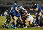 Sale Sharks hooker Rob Webber dives over to score in his sides 39-0 win in a Gallagher Premiership Rugby Union match, Friday, Mar. 6, 2020, in Eccles, United Kingdom. (Steve Flynn/Image of Sport)