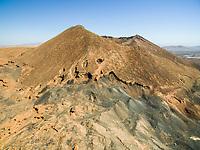 Aerial view of Caldera de Gairía volcano cone in Fuerteventura, Canary Islands.