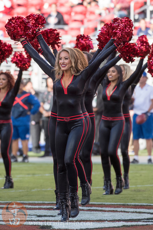 September 21, 2017; Santa Clara, CA, USA; San Francisco 49ers Gold Rush cheerleader Lauren before the game against the Los Angeles Rams at Levi's Stadium. The Rams defeated the 49ers 41-39.