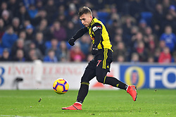 Watford's Gerard Deulofeu scores his side's second goal of the game during the Premier League match at the Cardiff City Stadium.