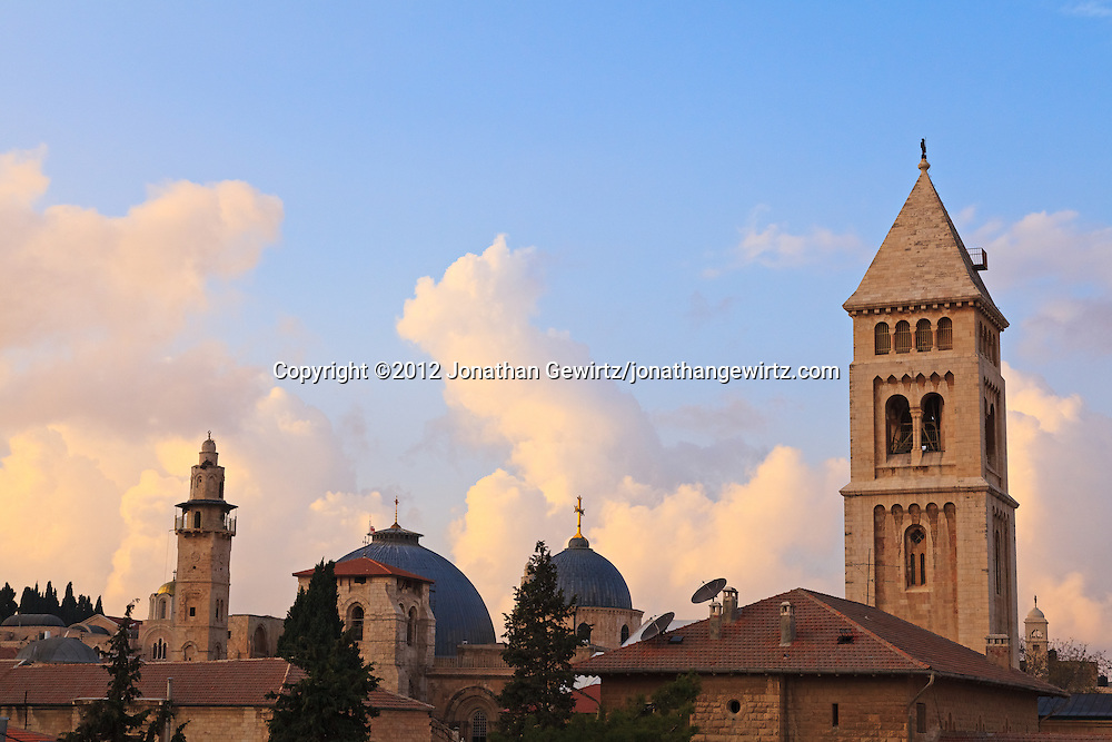 The Church of the Holy Sepulchre and the Lutheran Church of the Redeemer in the Christian Quarter of the Old City of Jerusalem. WATERMARKS WILL NOT APPEAR ON PRINTS OR LICENSED IMAGES.