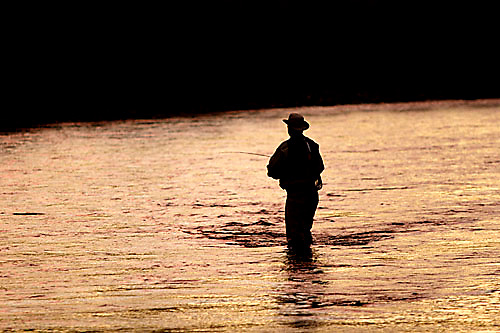 Man fly fishing on the the Yuba River in Northern California.<br />