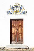 Manueline doorway ceramic Azulejo tile architectural features, village of Alvito, Baixo Alentejo, Portugal, southern Europe