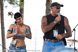 """The Horse Magazine publisher Ralph """"Hammer"""" Janus  on stage Friday afternoon at the Smokeout (in 2015,) Rockingham, NC. USA. June 19, 2015.  Photography ©2015 Michael Lichter."""