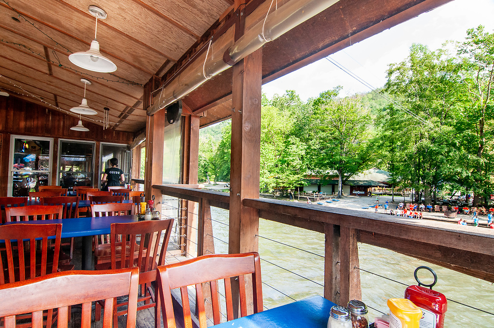The view from the River's End restaurant at the Nantahala Outdoor Center in Bryson City, NC on Thursday, June 29, 2017. Copyright 2017 Jason Barnette