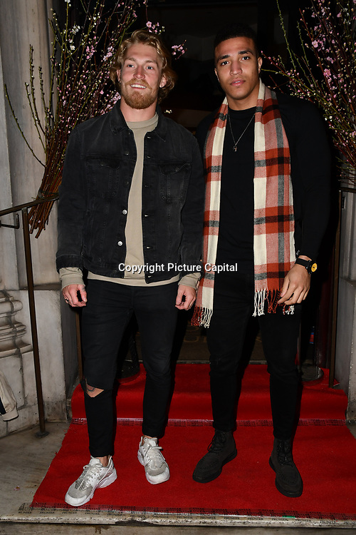 Harry Goodwins , Joshua Christie of Shipwrecked attend Travel bag brand hosts the launch of its exclusive luxury collection of handbags in collaboration with model and designer Anastasiia Masiutkina  D'Ambrosio on 26 March 2019, Caviar House & Prunier 161 Piccadilly, London, UK.