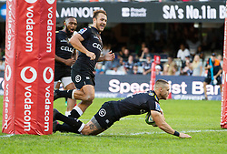 DURBAN, SOUTH AFRICA - MAY 19: Louis Schreuder of the Cell C Sharks on attack during the Super Rugby match between Cell C Sharks and Chiefs at Jonsson Kings Park on May 19, 2018 in Durban, South Africa. Picture Leon Lestrade/African News Agency/ANA