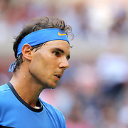 2016 U.S. Open - Day 7  Rafael Nadal of Spain in action against Lucas Pouille of France in the Men's Singles round four match on Arthur Ashe Stadium on day six of the 2016 US Open Tennis Tournament at the USTA Billie Jean King National Tennis Center on September 4, 2016 in Flushing, Queens, New York City.  (Photo by Tim Clayton/Corbis via Getty Images)