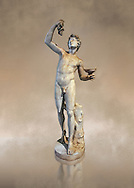 Roman marble sculpture of Faun, a 2nd century AD copy from an original of a late 2nd - 1st century BC late Hellanistic Greek original, inv 6332 - Farnese Collection, Naples Museum of Archaeology, Italy ..<br /> <br /> If you prefer to buy from our ALAMY STOCK LIBRARY page at https://www.alamy.com/portfolio/paul-williams-funkystock/greco-roman-sculptures.html . Type -    Naples    - into LOWER SEARCH WITHIN GALLERY box - Refine search by adding a subject, place, background colour, museum etc.<br /> <br /> Visit our ROMAN WORLD PHOTO COLLECTIONS for more photos to download or buy as wall art prints https://funkystock.photoshelter.com/gallery-collection/The-Romans-Art-Artefacts-Antiquities-Historic-Sites-Pictures-Images/C0000r2uLJJo9_s0