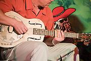 Israel, Nof Ginosar, Jacob's Ladder Music festival, guitarist uses a bottleneck