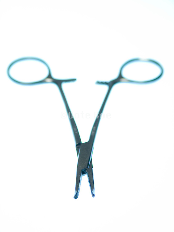still life of surgical staple pliers