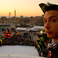 Freestyle skiing competition during the Monster Energy Fridge Festival held on a 35 meters high artificial ski jumping ramp in central Budapest, Hungary on November 12, 2011. ATTILA VOLGYI