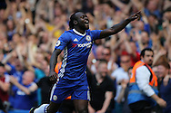 Victor Moses of Chelsea celebrating after scoring his sides 3rd goal to make it 3-0. Premier league match, Chelsea v Burnley at Stamford Bridge in London on Saturday 27th August 2016.<br /> pic by John Patrick Fletcher, Andrew Orchard sports photography.