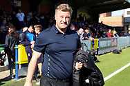 Oxford United manager Karl Robinson walking out onto pitch during the EFL Sky Bet League 1 match between AFC Wimbledon and Oxford United at the Cherry Red Records Stadium, Kingston, England on 29 September 2018.